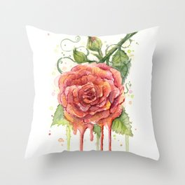 Red Rose Dripping Watercolor Flower Throw Pillow
