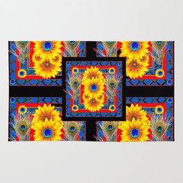 BLUE PEACOCK JEWELED SUNFLOWERS DECO ABSTRACT Rug