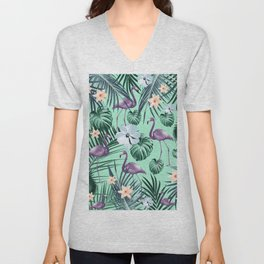 Tropical Flamingo Flower Jungle #5 #tropical #decor #art #society6 Unisex V-Neck