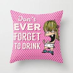 DRUNK GIRL Throw Pillow