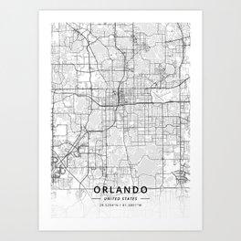 Orlando, United States - Light Map Art Print