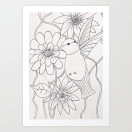 Black and White Hummingbird Art Print