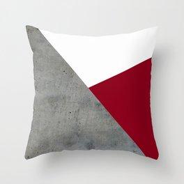 Concrete Burgundy Red White Throw Pillow