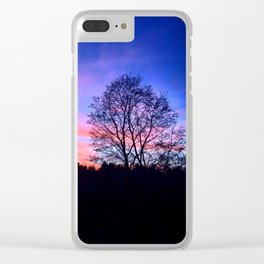 Purple sunset over trees Clear iPhone Case