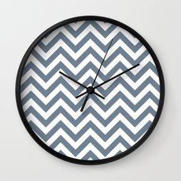 Slate Grey Chevrons Pattern Wall Clock