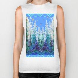 Western  Blue Modern Art Mountain Blue Winter Trees  Art Biker Tank