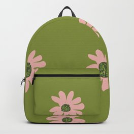 Colorful retro home decor and textile design flower pattern on olive Backpack