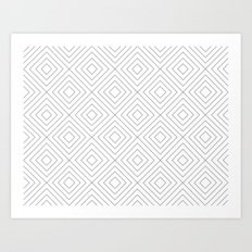 Squares white Art Print
