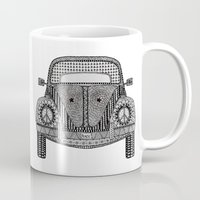 volkswagon Mugs featuring Tangled VW Bug by Cherry Creative Designs