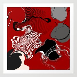 falling apart red black white grey abstract 3d digital art Art Print