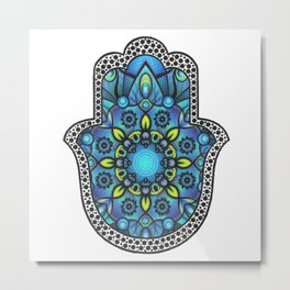 Colorful Blue Hamsa Hand Metal Print