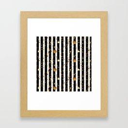 Stripes & Gold Splatter Framed Art Print