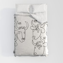 Pablo Picasso Bulls Artwork, Animals Line Sketch, Prints, Posters, Bags, Tshirts, Men, Women, Kids Comforters