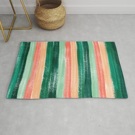 Green and Orange Pastel Stripe Pattern Abstract  Rug