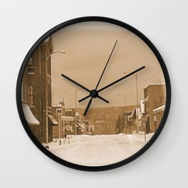 Old Main Street in the Snow Wall Clock