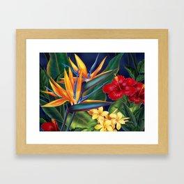 Tropical Paradise Hawaiian Floral Illustration Framed Art Print
