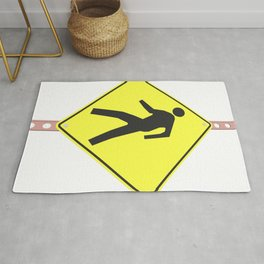 """""""pedestrian ahead"""" - 3d illustration of yellow roadsign isolated on white background Rug"""