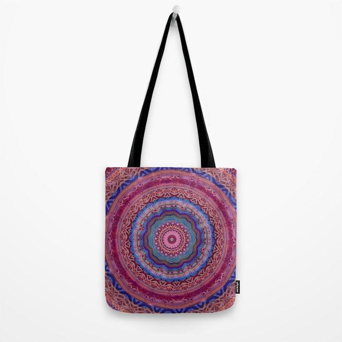 Colorful Agate Mandala Tote Bag