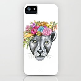Lioness with Flower Crown iPhone Case