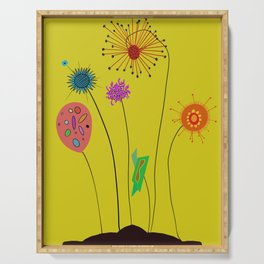 Silly Space-Age Flowers Yellow Background Serving Tray