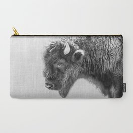 Bison Portrait | Black and White Carry-All Pouch