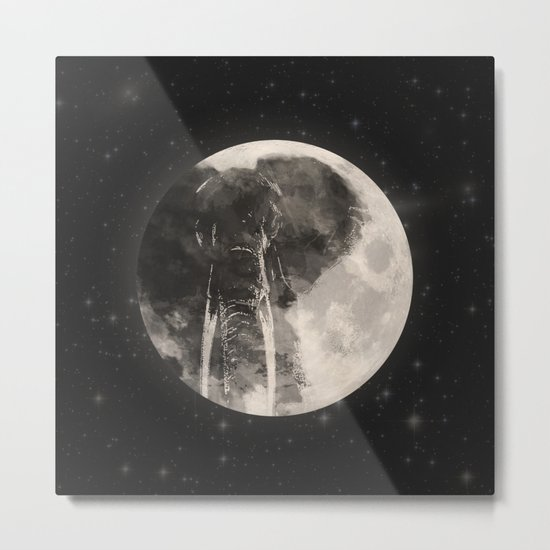 The Elephant in The Moon Metal Print