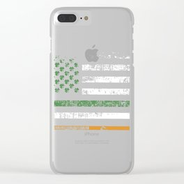 Gift American Flag Hockey St Patrick's Day graphic Clear iPhone Case