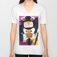cycling V-neck T-shirts featuring Cycling penguin by Adriana Moran