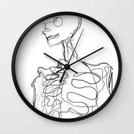 skeleton one line drawing Wall Clock