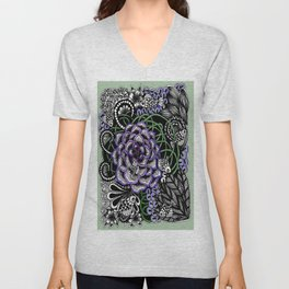 Fishes on a Coral Reef Greens - Zentangle Illustration Unisex V-Neck