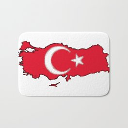 Turkey Map with Turkish Flag Bath Mat