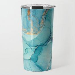 Abstract Turquoise Art Print By LandSartprints Travel Mug