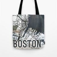 boston Tote Bags featuring Boston by Sophie Calhoun