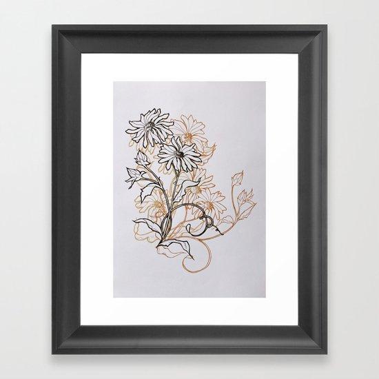 Ochre Daisy Framed Art Print