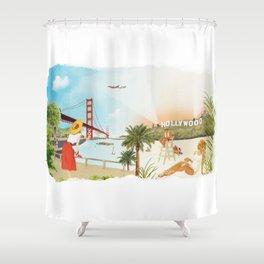 San Francisco + Los Angeles Shower Curtain