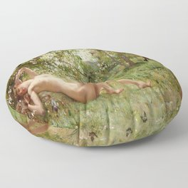 Springtime Awakening : Nude Art Floor Pillow