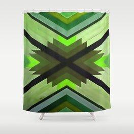 Navaho Vibes Geometric Pattern - Black Olive Lime Shower Curtain