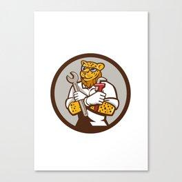Leopard Mechanic Spanner Monkey Wrench Circle Cartoon Canvas Print