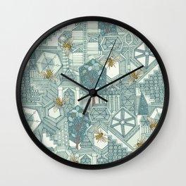 hexagon city Wall Clock