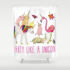 Party Like A Unicorn Shower Curtain