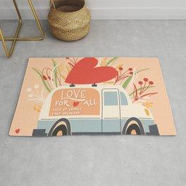 Love Truck, Happy Valentine's Day 1 Rug
