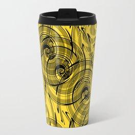 Yellow , black , abstraction , spiral Travel Mug