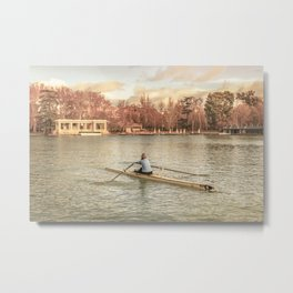 Woman Rowing at Del Retiro Park, Madrid, Spain Metal Print