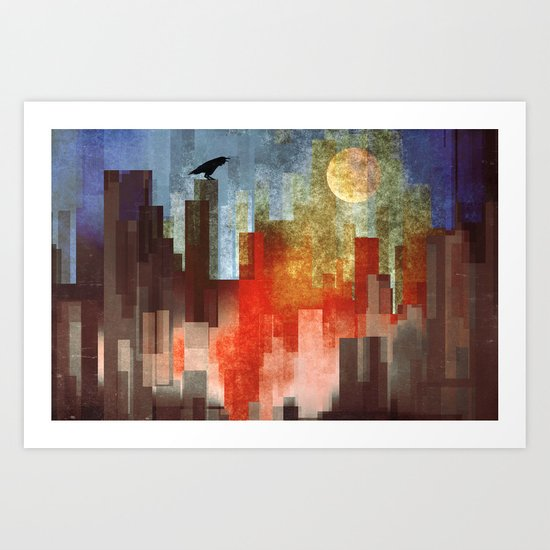 Urban Full Moon Art Print