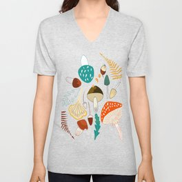 Mushrooms and leaves in autumn Unisex V-Neck