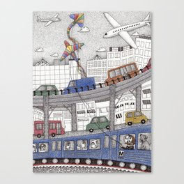 Taking the Red Line Canvas Print