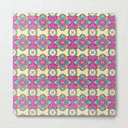 Lily Pulitzer Inspired Spanish Tiles Pattern Metal Print