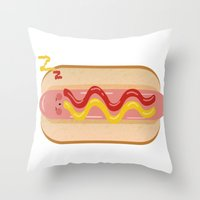 hot dog Throw Pillows featuring hot dog by Alba Blázquez