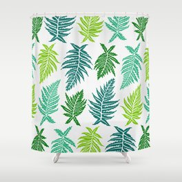 Inked Ferns – Green Palette Shower Curtain
