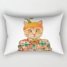 Orange Pumpkin Cat // Fall Decor Rectangular Pillow